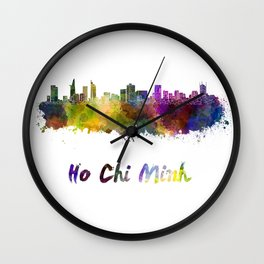 Ho Chi Minh skyline in watercolor Wall Clock