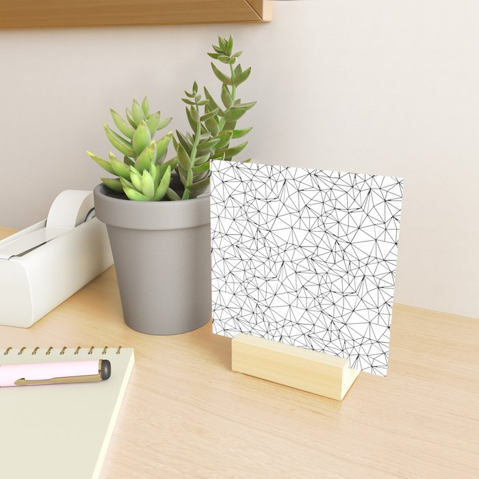 Mosaic Triangles Repeat Seamless Pattern Black and White Mini Art Print