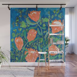 Coral Proteas on Blue Pattern Painting Wall Mural