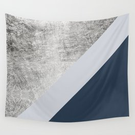 Modern minimalist navy blue grey and silver foil geometric color block Wall Tapestry
