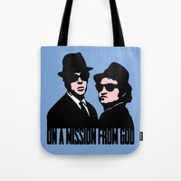blues brothers Tote Bags featuring Blues Brothers by John Medbury (LAZY J Studios)