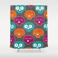 skulls Shower Curtains featuring Skulls by Michael Goodson