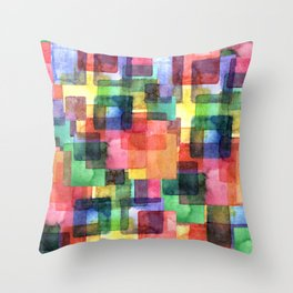 Watercolor blots plaid :) Throw Pillow