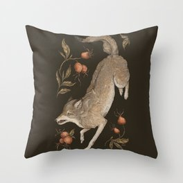 The Wolf and Rose Hips Throw Pillow