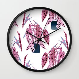 Simple Potted Polka Dot Begonia Plants in White + Rose Wall Clock