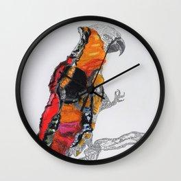 Perroquet rouge Wall Clock