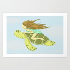 The Girl and the Turtle Art Print