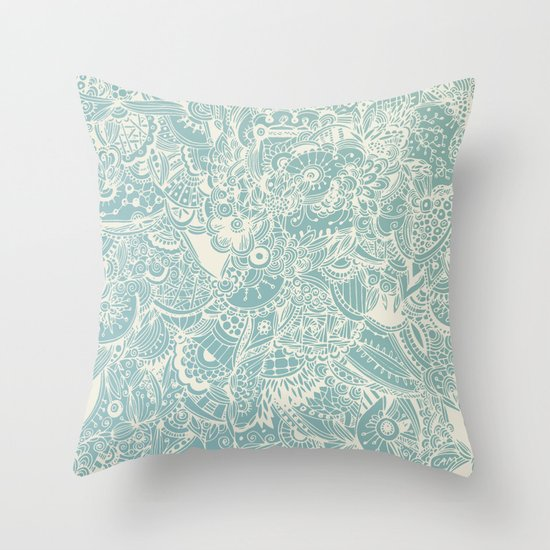 Detailed rectangle, light blue Throw Pillow by /CAM Society6