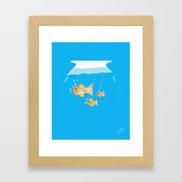 Three Goldfishes In a Water Bowl Framed Art Print