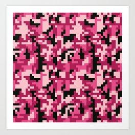 Pink and Black Pixel Camo pattern Art Print