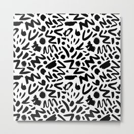 Abstract Memphis Style Brush Pattern (white) Metal Print