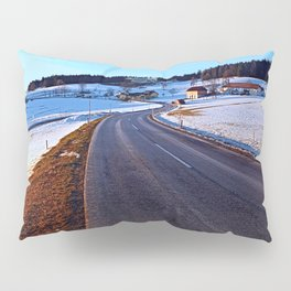 Country road through winter wonderland III | landscape photography Pillow Sham