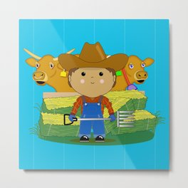 Rancher Dude With Cattle (Kawaii Style) Metal Print