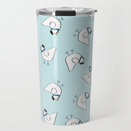 the happy french hen in bakery blue Travel Mug