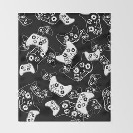 Video Game White on Black Throw Blanket
