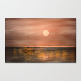 Boats in the fog Canvas Print