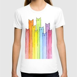 Cat Rainbow Watercolor Whimsical Animals Cats Pattern T-shirt