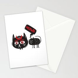 Fun Spooky Black Cat Meowth Halloween DIY Costume Men Women Stationery Cards