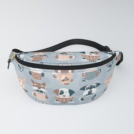 Doggie Coffee and Tea Time I // blue grey Fanny Pack