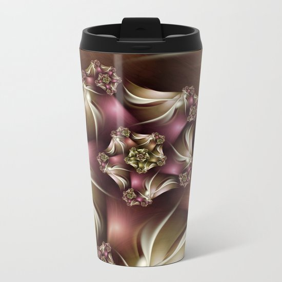 Abiding Fractal Spiral in Brown, White and Pink Metal Travel Mug