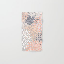 Flowers Abstract Print, Coral, Peach, Gray Hand & Bath Towel