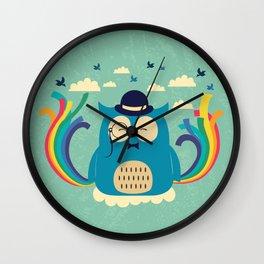 Happy owl with rainbow Wall Clock
