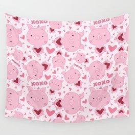 Valentine Piggy Pattern Wall Tapestry