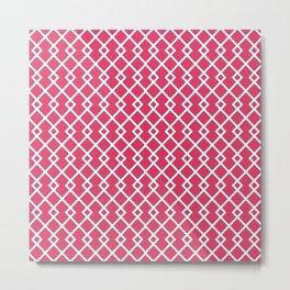 Cerise Red Diamond Pattern Metal Print