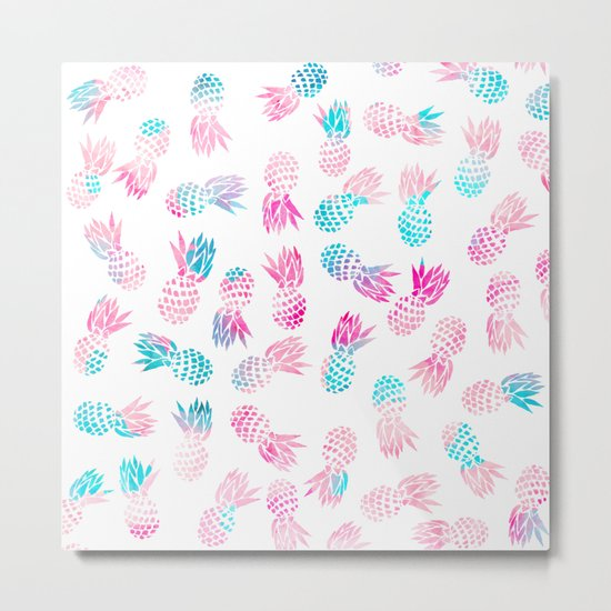 Modern summer tropical pineapple watercolor illustration pattern Metal Print