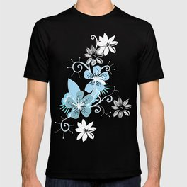Summer blossom, brown and blue pattern T-shirt