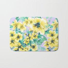 Floral Print Tropical Yellow Bath Mat