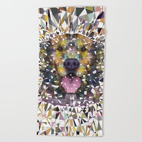 rainbow dog Beach Towel