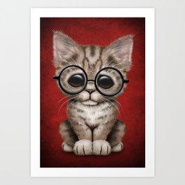 Cute Brown Tabby Kitten Wearing Eye Glasses on Red Art Print