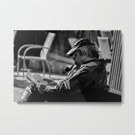 Smoking a Pipe Metal Print