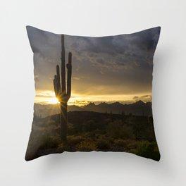 Desert Dawn on the Horizon Throw Pillow