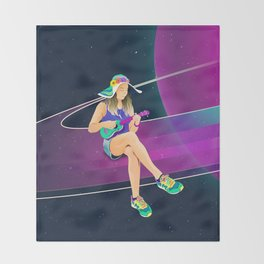 The girl from Saturn by #Bizzartino Throw Blanket