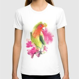 watercolor illustration with bird lovebirds. lovebird parrot on a branch with flowers T-shirt