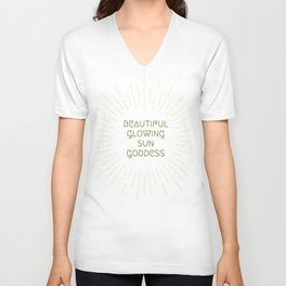 Beautiful Glowing Sun Goddess Unisex V-Neck