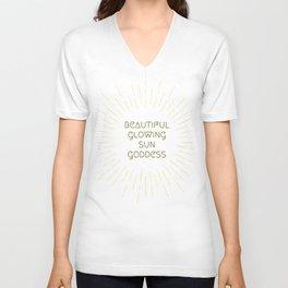 Beautiful Glowing Sun Goddess Unisex V-Neck
