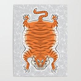 TIBETAN TIGER - GOLDEN (white) Poster