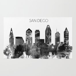 Black and white watercolor San Diego skyline Rug