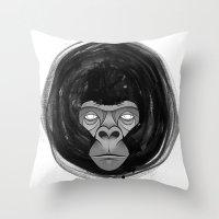 gorilla Throw Pillows featuring Gorilla  by dchristo