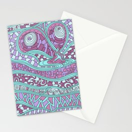 Wandering Abstract Line Art 03: Pink Stationery Cards