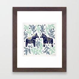 Swedish Dala Horse – Navy & Mint Palette Framed Art Print