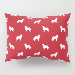 Bernese Mountain Dog pet silhouette dog breed minimal red and white pattern Pillow Sham