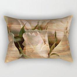 Vintage Water Rose Abstract Rectangular Pillow