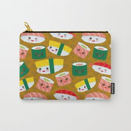 pattern Kawaii funny sushi set with pink cheeks and big eyes, emoji on brown mustard background Carry-All Pouch