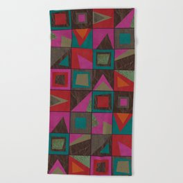 squares of colors and shreds Beach Towel