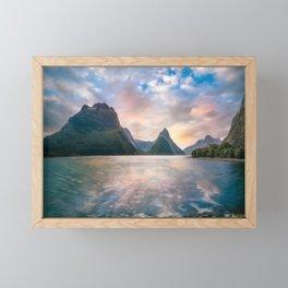 Epic Sunset at Milford Sound Framed Mini Art Print