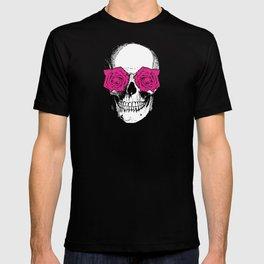 Skull and Roses   Grey and Pink T-shirt